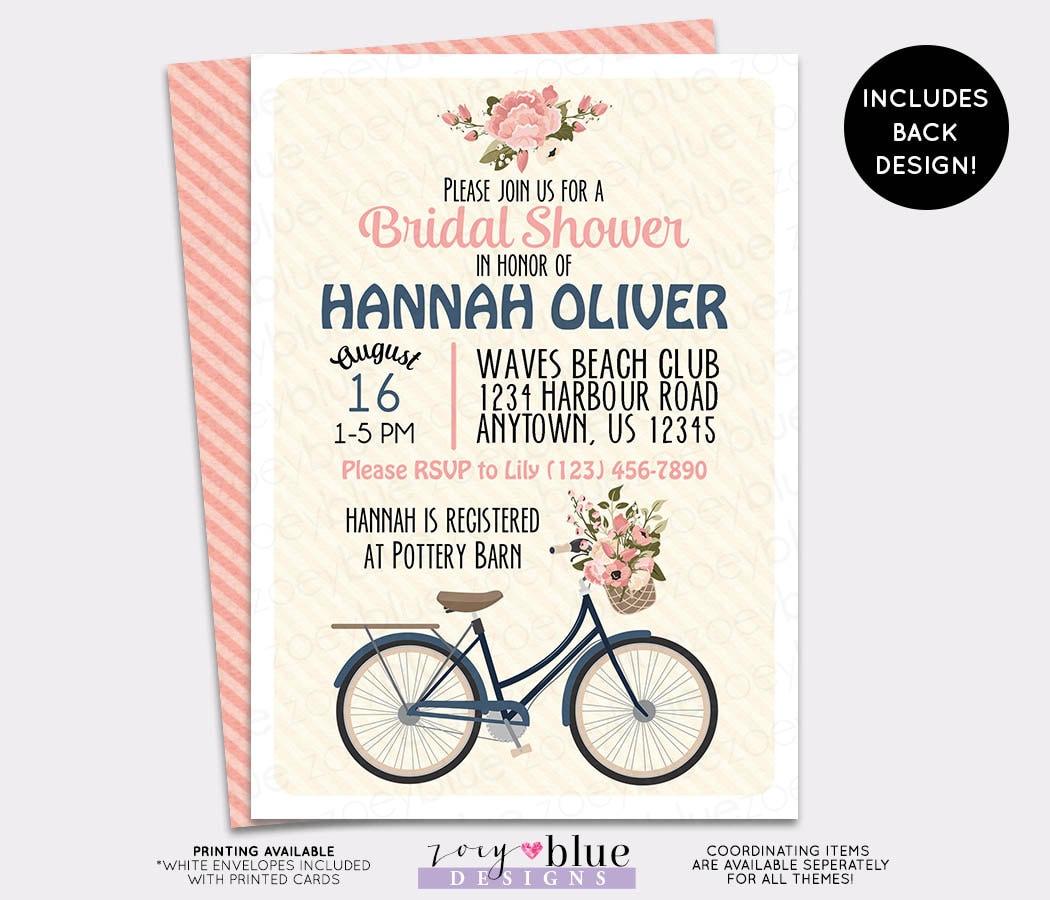 Spring bicycle bridal shower invitation floral vintage baby zoom filmwisefo Choice Image