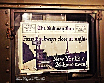 Subway Art, New York Photography, The Subway Sun, Vintage Advertising, Paris, NYC, Retro Travel, The Metro, Manhatten, 1940s, Eiffel Tower