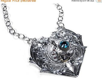 Steampunk Jewelry Necklace Silver Pocket Watch HEART Pendant Turquoise Crystal Anniversary Womens Valentines Gift GORGEOUS - by edmdesigns