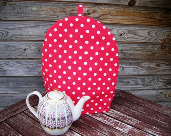 Cotton red and White Polka Dots Coffee Pot Cozy, Linen Home decor Coffee lover, Pure Cotton Coffee Pot Warmer, Handmade, Large Size