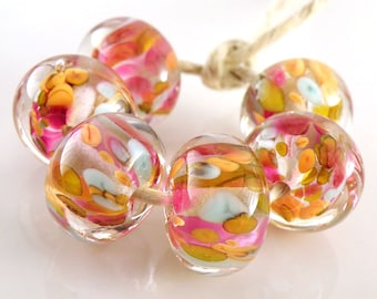 Play Day Encased SRA Lampwork Handmade Artisan Glass Donut/Round Beads Made to Order Set of 6 10x15mm