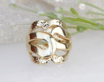 GOLD PLATED RING, Chunky Ring, Statement Ring, Wide Ring, Unique Ring, Modern Woman Ring, Avant Garde Ring, Ring Size 8, Hammered Gold Ring