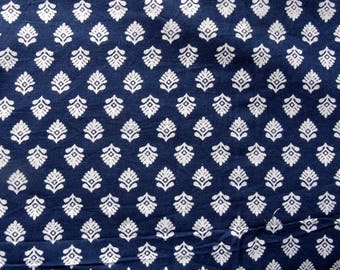 fabric by the yard, cotton, indigo and white collection, small flowers