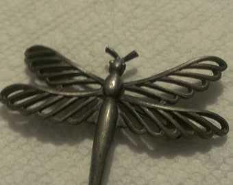Large Old Artisan Pewter Dragonfly Brooch