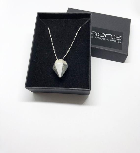 Chain Necklace SILVER CHAIN Concrete Jewelry Minimalist Design Concrete Cone Long Silver Chain