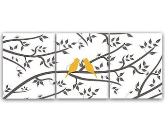 Bedroom Wall Art, Bedroom CANVAS, Modern Love Bird Art PRINTS, Home Decor, Bathroom Art, Nursery Wall Decor - HOME73