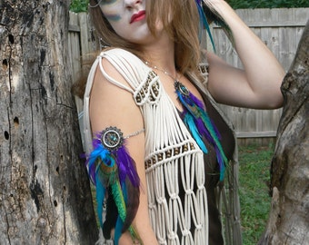 festival Arm Chain, Peacock, Purple, Feather Jewelry, Dreamcatcher Armlet, Tribal Fusion, Festival,Boho,Belly Dancer, Hippie