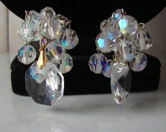Vintage AB Crystal Dangle Cha Cha Clip Earrings