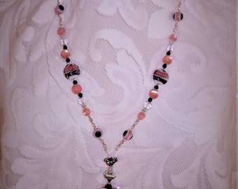 Badge Holder ~ ID Lanyard, Pink & Black Lampworked, Iridesant Acrylic Beads, Faceted Crystals