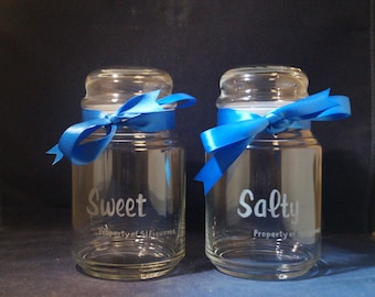 2 Custom Engraved  26 oz Candy Jar with Dome Lid and Free Personalization