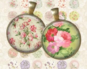 Vintage Floral No1 Circle - Digital Collage Sheet 1 inch Printable Circles Download for pendants magnets bottle caps
