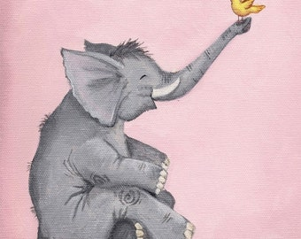 Happy Elephant Art Print perfect for Baby Shower or Nursery Art