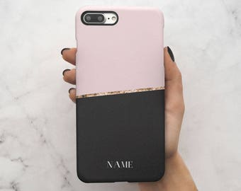 Custom Personal Name Black Pink Blocks Protective Hard Case Cover For iPhone 7 iPhone 8 & Samsung Galaxy   C120