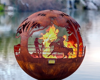 Round Up Ranch Fire Pit Sphere with Flat Steel Base or Horseshoe Base - horse firepit