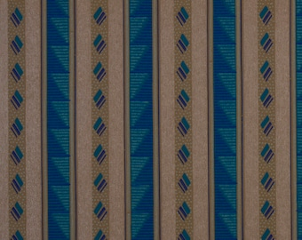 French Original Wallpaper Stripe Silver Blue Bold 1920s