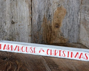 Farmhouse Christmas Wood Sign Red White Mantle Shelf Sitter Reclaimed Wood,Shabby Chic, Cabin, Country,  Rustic Christmas Holiday Decor