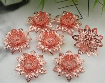 8 pcs Rose Gold Rose Filigree Charms,16mm