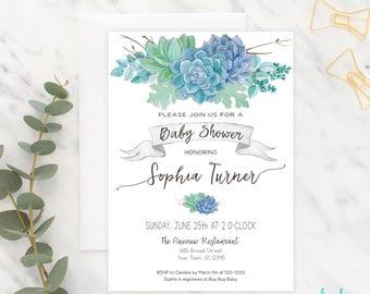 Succulent Baby Shower Invitation Baby Shower Invite Shower Invitation Printable Succulents Boho Baby Shower Boy Gender Neutral