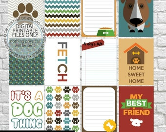 Dog Journaling Cards, Project Life Inspired Printable, Simple Stories, Digital Scrapbooking, Pocket Scrapbooking, Planner Printable