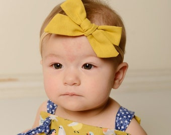Mustard Fabric hair bow  hairbow baby yellow headband fabric knot bow, nylon newborn girl