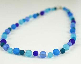 Blue sea glass necklace blue beads blue beaded necklace Saturn necklace cobalt blue seaglass aqua blue sea glass jewelry handmade jewelry