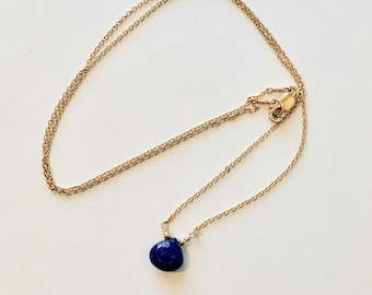 Lapis Lazuli and Gold Necklace with 14k Gold Filled Lobster Clasp, Lapis and Gold Necklace