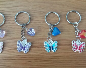 choose 1 pretty  small heart and butterfly keyring