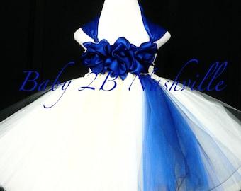 Cobalt Blue Flower Girl Dress  Wedding Flower Girl Dress in Ivory All Sizes Girls