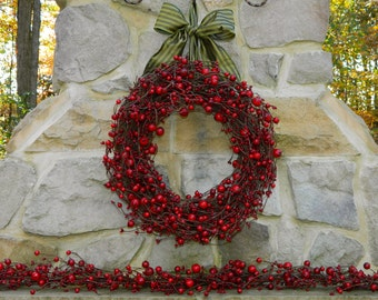 Berry Christmas Wreath - Holiday Wreath - Cranberry Wreath - Christmas Wreath - Choose Bow