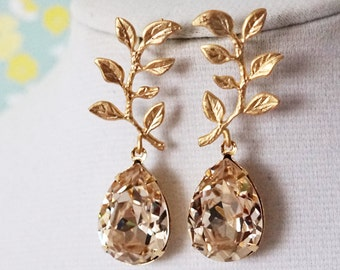 Tina - Gold Olive Leaf Light Silk Swarovski Teardrop Crystal Earrings, Bridesmaid earrings, Bridal Wedding Jewelry, woodland champagne E251
