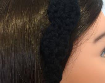 Black Cotton Crocheted Headband