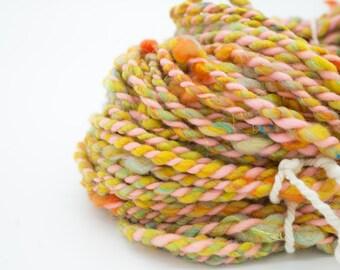 "Handspun Yarn/ ""Pink Lemonade Sunrise""/ Art Yarn/ Corespun Yarn/ Hand Dyed Yarn/ Merino 2 Ply/ Sparkle yarn/ Rainbow Yarn"