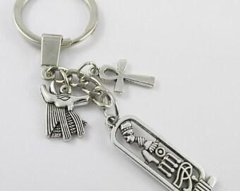 Egyptian Icons Anubis Ankh Charm Keychain Keyring 105mm (C2573/C849/C961/KCF003)