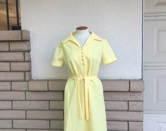 Vintage Yellow Striped Dress 70s Belted Midi Day Dress Large