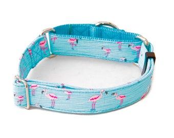 """Pink Flamingos Dog Collar - 1"""" - 2"""" Widths - Caninus Collars"""
