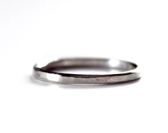 Ring - Thin Hammered Sterling Silver Ring - Single Skinny Silver Band - Plain Silver Ring - Unisex - Silver Wedding Band