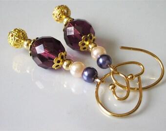 Modern Beaded Dangle Earrings, Amethyst Glass, Dark Purple Earrings, Gold Infinity Spiral Ear Wire