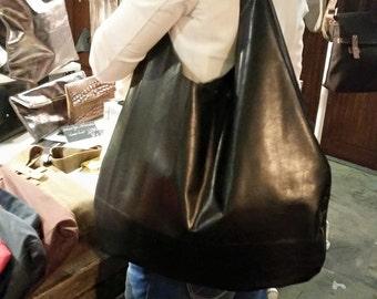 schwarze Leder Tasche, Hobo Tasche, Leder Tasche, Beutel Tasche, Reise Tasche, Laptop Tasche, große Tasche, chice Tasche, schlichte Tasche