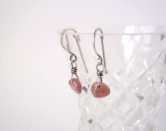 Pink Tourmaline Earrings ~ Petite Pale Pink Natural Gemstones ~ Handcrafted Eco-Friendly Recycled Sterling Silver Hooks ~ Asymmetrical Style