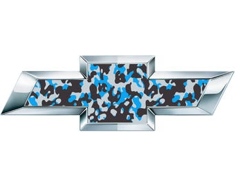 2 Blue Camo Vinyl Sheets for Chevy Emblem Bowtie Silverado Tahoe Overlay Decal
