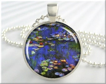 Monet Art Pendant, Vintage Art Necklace, Claude Monet Water Lilies Pendant, Resin Art Charm, Monet Art Necklace, Round Silver 163RS