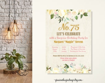 Floral Women's Birthday Party Invitation, Milestone Birthday Invite, 75th Birthday Party, Feminine Birthday Invite, Surprise Party, Any Age
