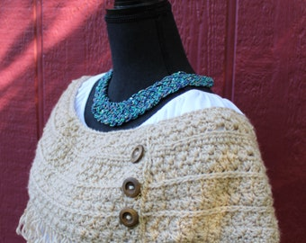 Boho Infinity Scarf Brown Tan With Wooden Buttons and Fringe