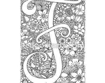 instant digital download - adult coloring page - letter F with flower designs