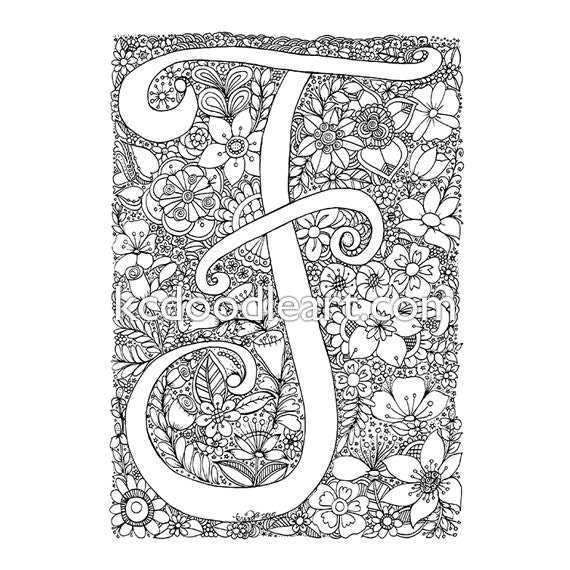 instant digital download adult coloring page letter F with