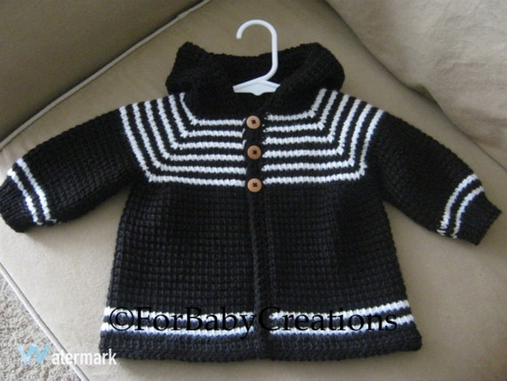 Items Similar To Crochet Baby Boy Sweater With Hood