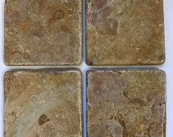 Beverage~Bar~Stone~ Natural~Tile Coasters~Ceramic~Drink Coasters~Housewarming Gift~Table Decor~Drink~Tumbled Stone Coasters~Tan Marbelized