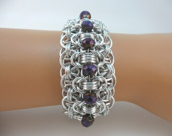 Rondo a la Byzantine chainmaille bracelet with deep purple crystals, Chainmail bracelet, Chain mail bracelet, chain maille bracelet