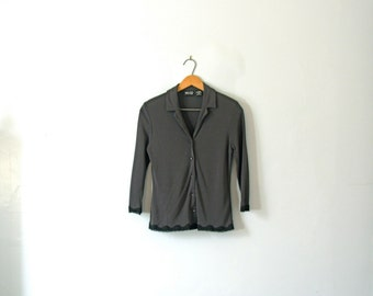Vintage 90's minimalist charcoal grey and black women's blouse, size small