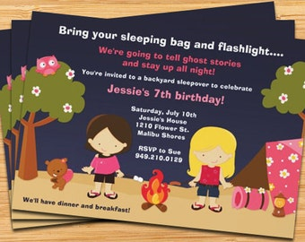 Girls Camping Birthday Party Invitation